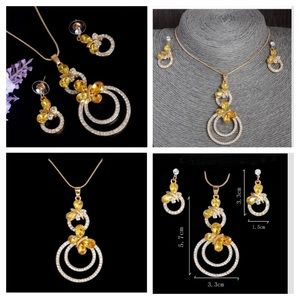 Jewelry - Yellow Crystal Butterfly Necklace Set 18 in chain